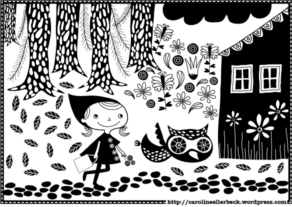 Kleurplaten En Zo Roodkapje.Roodkapje Kleurplaat Gratis Download Caroline Ellerbeck Illustrator